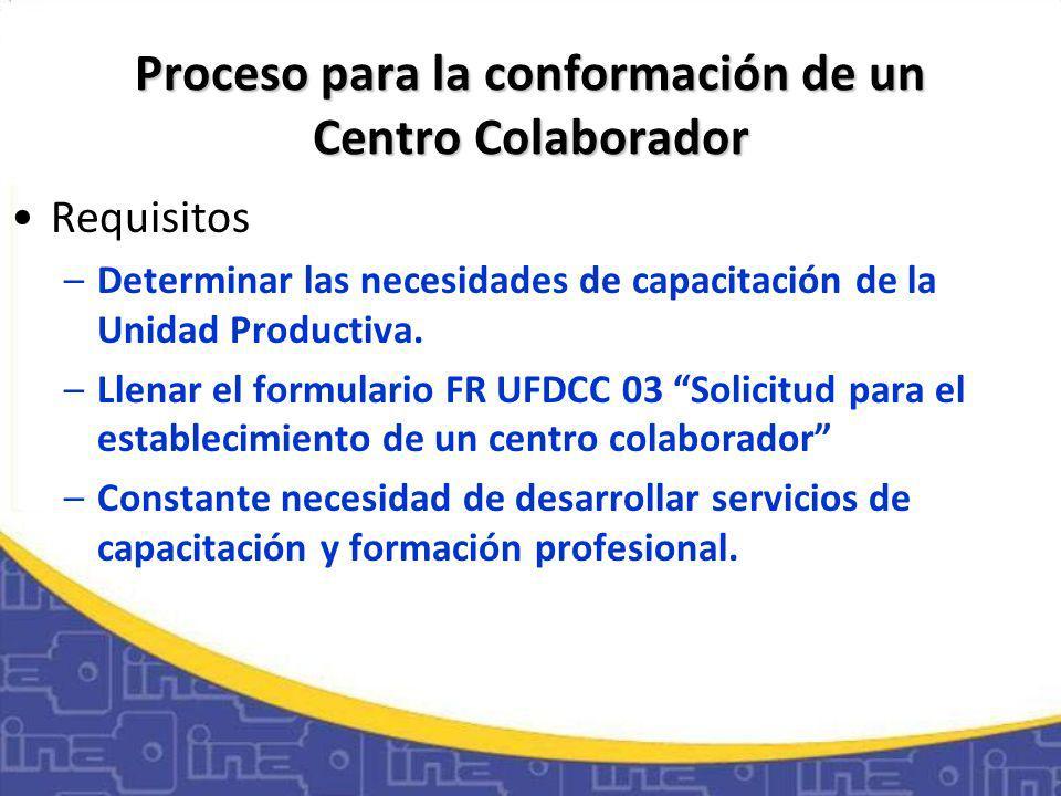 Proceso para la conformación de un Centro Colaborador Requisitos –Determinar las necesidades de capacitación de la Unidad Productiva.