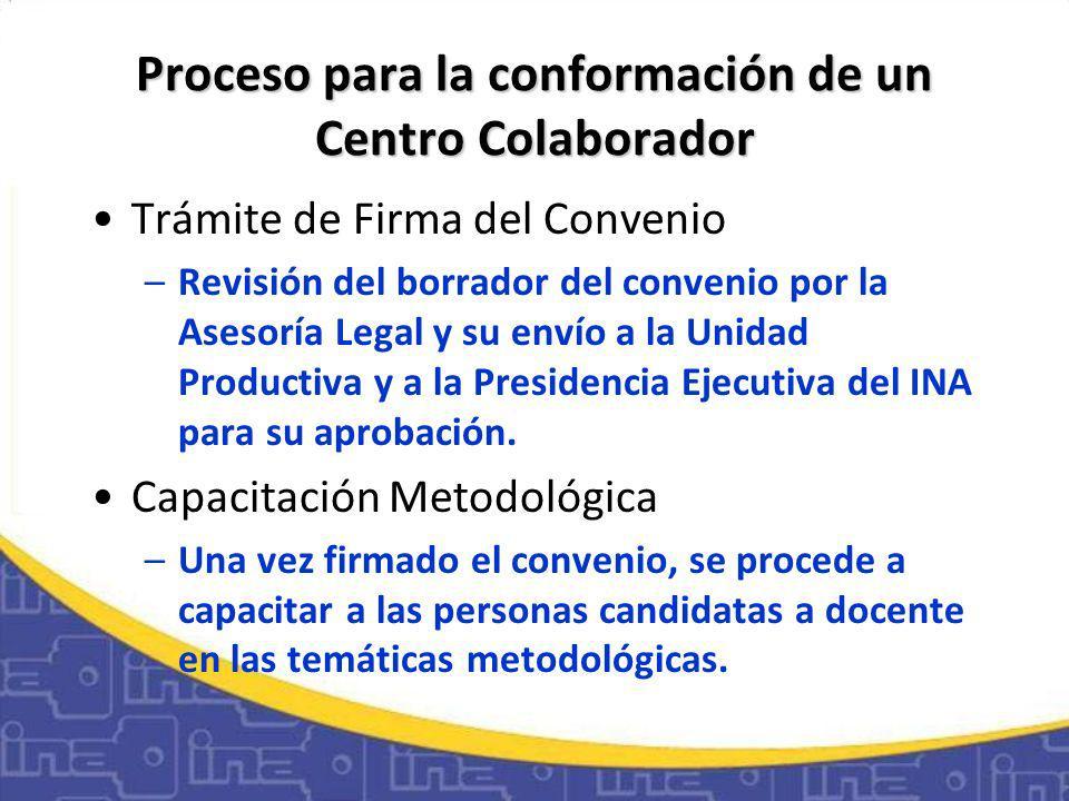Proceso para la conformación de un Centro Colaborador Trámite de Firma del Convenio –Revisión del borrador del convenio por la Asesoría Legal y su envío a la Unidad Productiva y a la Presidencia Ejecutiva del INA para su aprobación.
