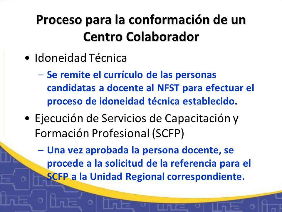 Proceso para la conformación de un Centro Colaborador Idoneidad Técnica –Se remite el currículo de las personas candidatas a docente al NFST para efectuar el proceso de idoneidad técnica establecido.