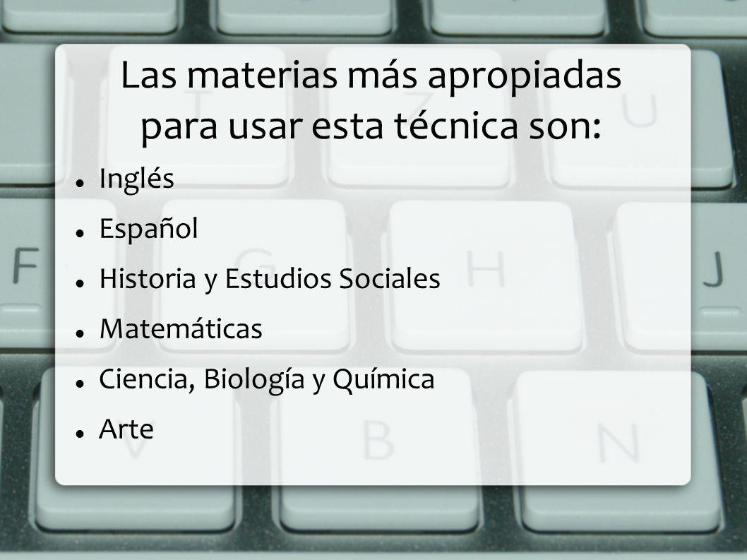 Las materias más apropiadas para usar esta técnica son: Inglés Español Historia y Estudios Sociales Matemáticas Ciencia, Biología y Química Arte