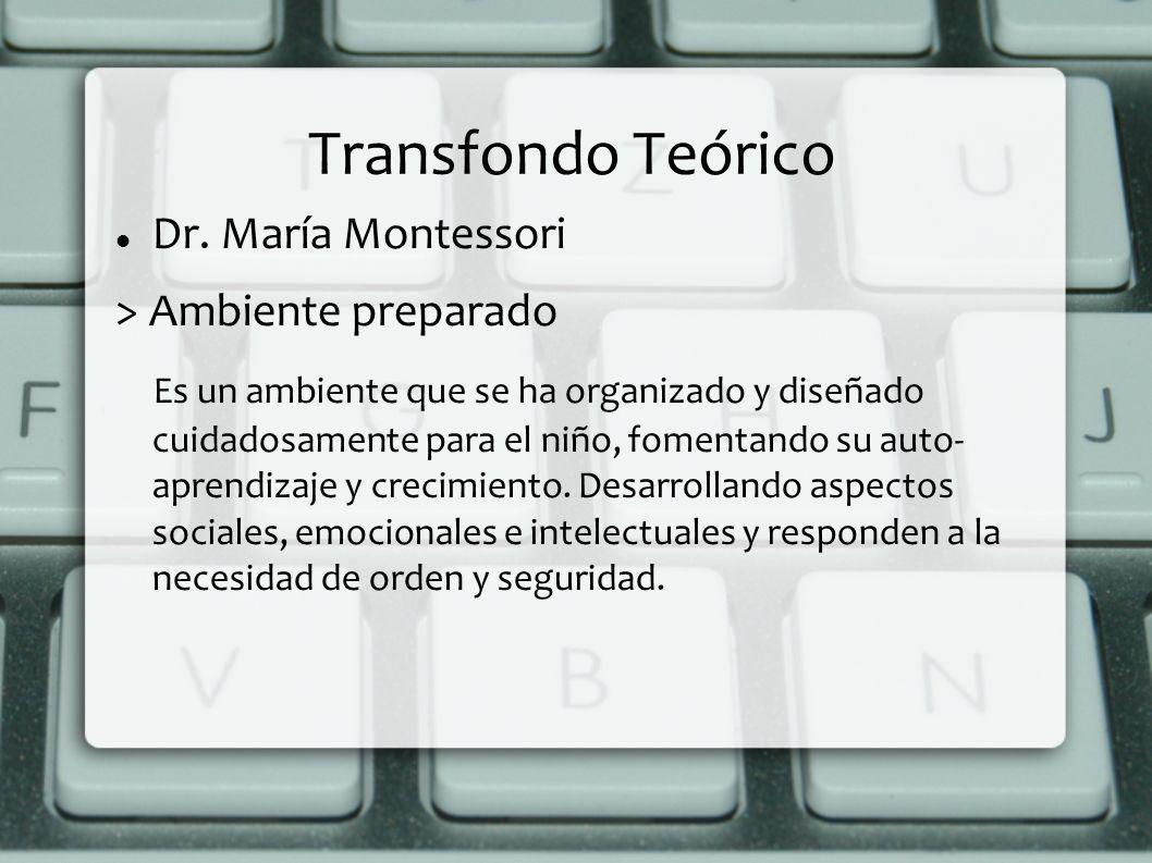 Transfondo Teórico Dr. María Montessori > Ambiente preparado Es un ambiente que se ha organizado y diseñado cuidadosamente para el niño, fomentando su