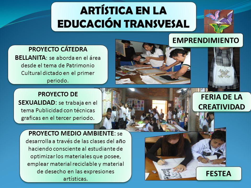 ARTÍSTICA EN LA EDUCACIÓN TRANSVESAL PROYECTO CÁTEDRA BELLANITA : se aborda en el área desde el tema de Patrimonio Cultural dictado en el primer perio