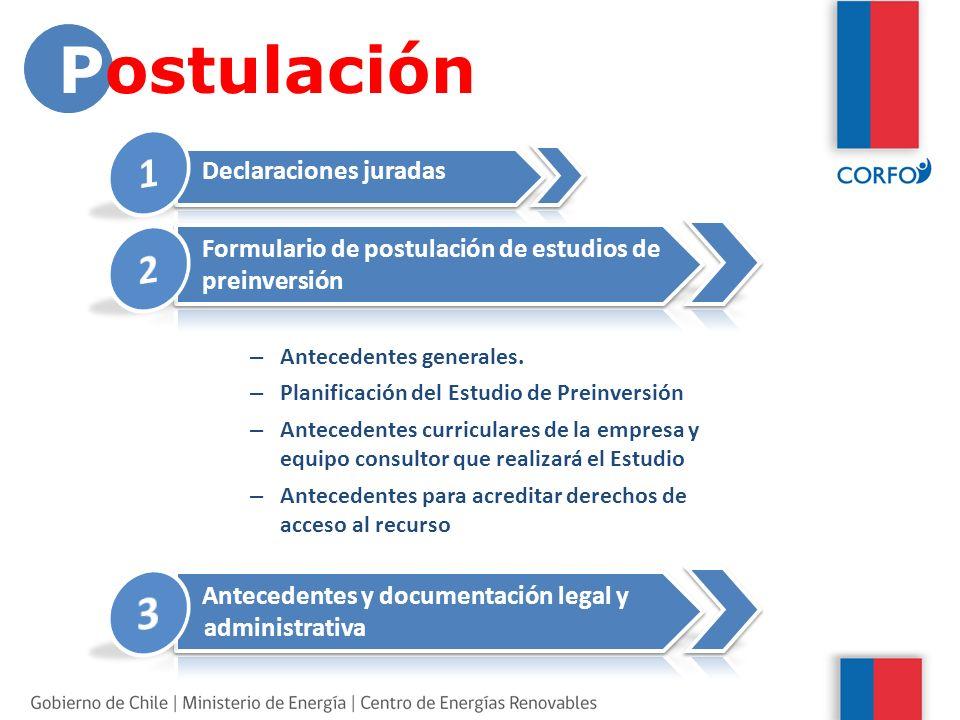 Declaraciones juradas Formulario de postulación de estudios de preinversión – Antecedentes generales.