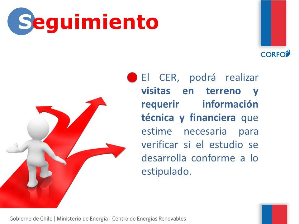 El CER, podrá realizar visitas en terreno y requerir información técnica y financiera que estime necesaria para verificar si el estudio se desarrolla conforme a lo estipulado.