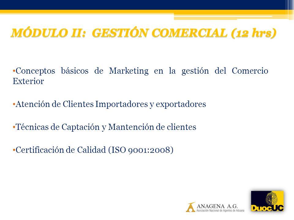 Conceptos básicos de Marketing en la gestión del Comercio Exterior Atención de Clientes Importadores y exportadores Técnicas de Captación y Mantención