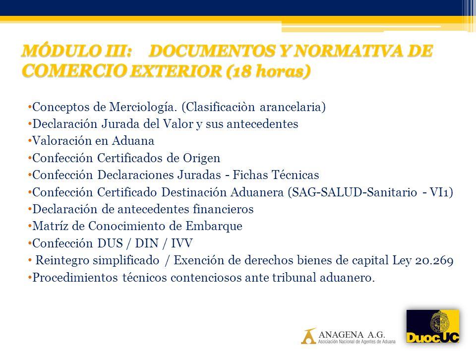 Conceptos de Merciología. (Clasificaciòn arancelaria) Declaración Jurada del Valor y sus antecedentes Valoración en Aduana Confección Certificados de