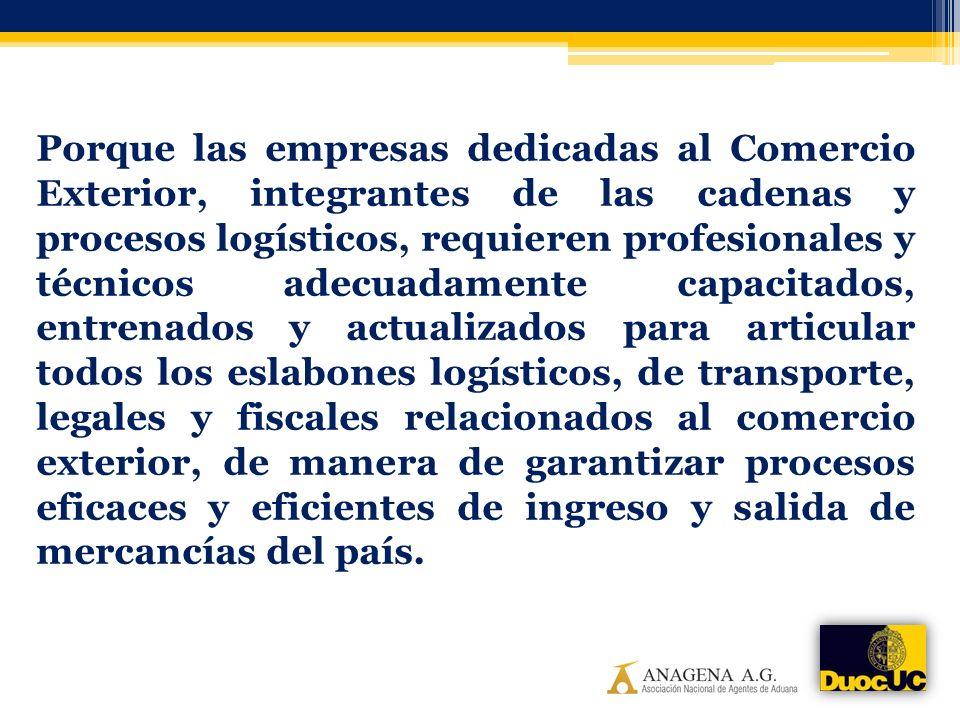 Porque las empresas dedicadas al Comercio Exterior, integrantes de las cadenas y procesos logísticos, requieren profesionales y técnicos adecuadamente