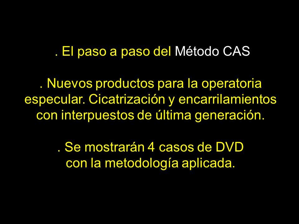 . El paso a paso del Método CAS. Nuevos productos para la operatoria especular. Cicatrización y encarrilamientos con interpuestos de última generación