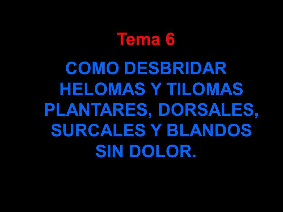 Tema 6 COMO DESBRIDAR HELOMAS Y TILOMAS PLANTARES, DORSALES, SURCALES Y BLANDOS SIN DOLOR.