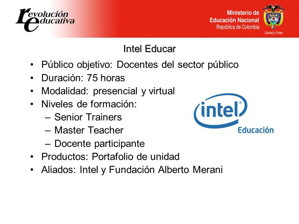 Intel Educar Público objetivo: Docentes del sector público Duración: 75 horas Modalidad: presencial y virtual Niveles de formación: –Senior Trainers –