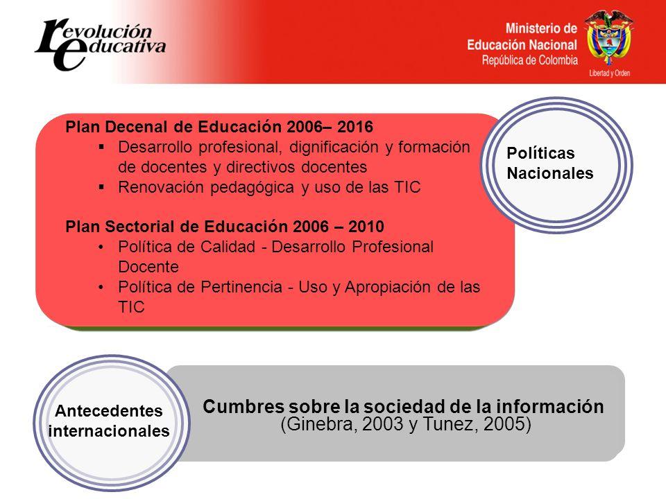 Antecedentes internacionales Cumbres sobre la sociedad de la información (Ginebra, 2003 y Tunez, 2005) Políticas Nacionales Plan Decenal de Educación