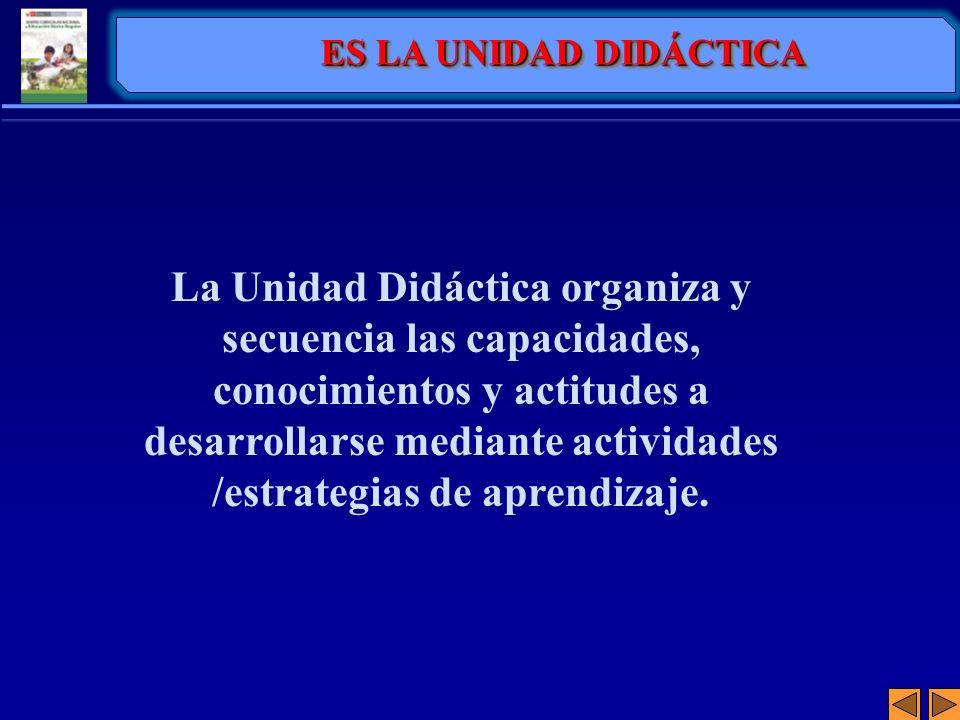 La Unidad Didáctica organiza y secuencia las capacidades, conocimientos y actitudes a desarrollarse mediante actividades /estrategias de aprendizaje.