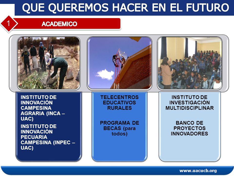 1 INSTITUTO DE INNOVACIÓN CAMPESINA AGRARIA (INCA – UAC) INSTITUTO DE INNOVACIÓN PECUARIA CAMPESINA (INPEC – UAC) TELECENTROS EDUCATIVOS RURALES PROGR