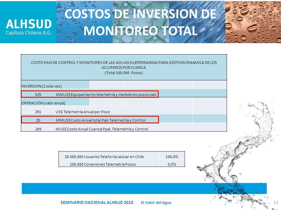 13 El Valor del Agua SEMINARIO NACIONAL ALHSUD 2013 COSTOS DE INVERSION DE MONITOREO TOTAL COSTO PAIS DE CONTROL Y MONITOREO DE LAS AGUAS SUBTERRANEAS