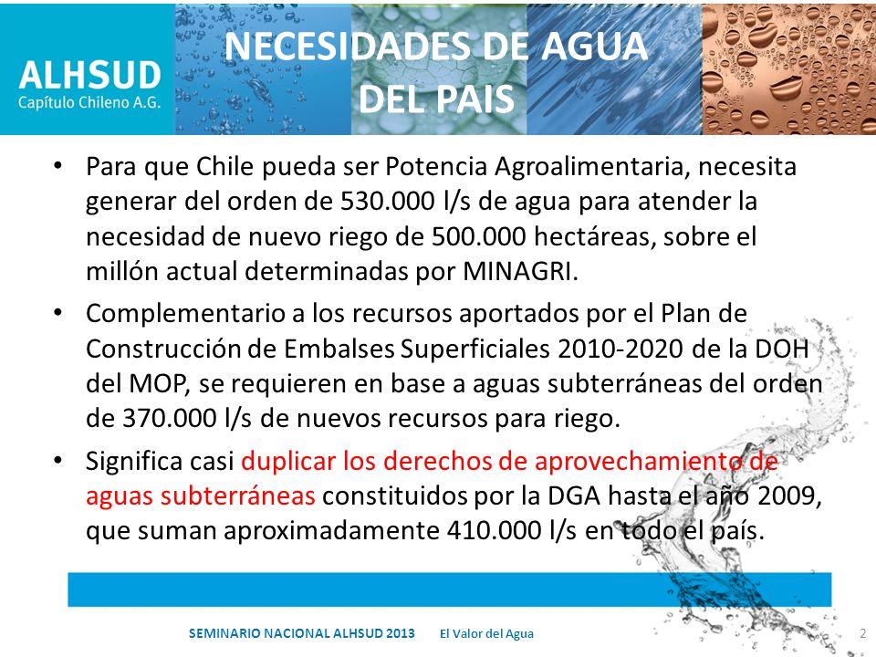 NECESIDADES DE AGUA DEL PAIS Para que Chile pueda ser Potencia Agroalimentaria, necesita generar del orden de 530.000 l/s de agua para atender la nece
