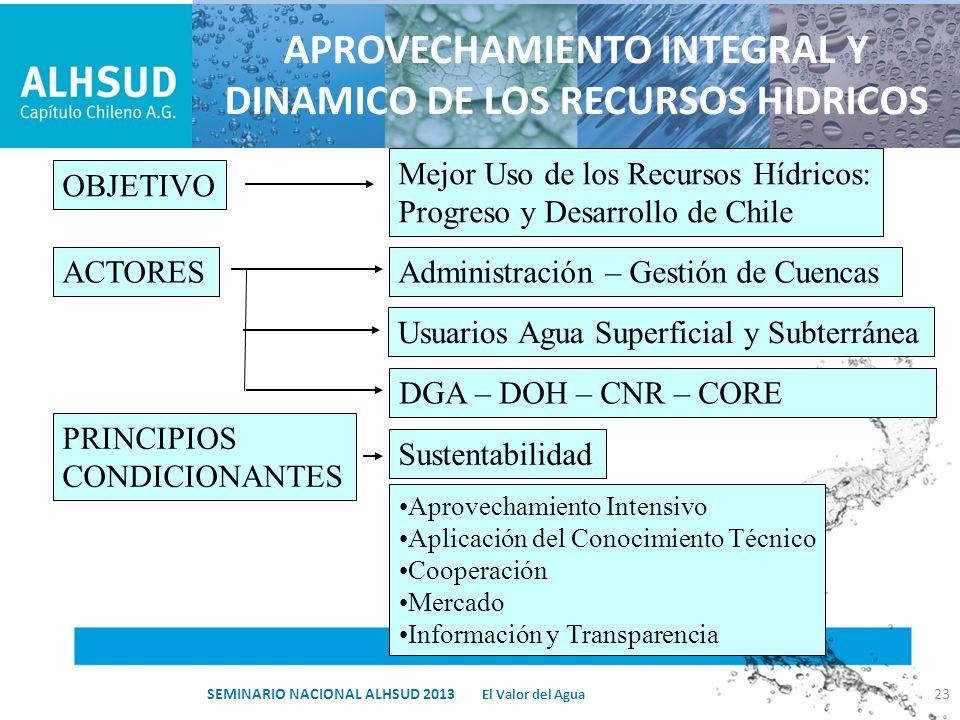 APROVECHAMIENTO INTEGRAL Y DINAMICO DE LOS RECURSOS HIDRICOS OBJETIVO Mejor Uso de los Recursos Hídricos: Progreso y Desarrollo de Chile ACTORESAdmini