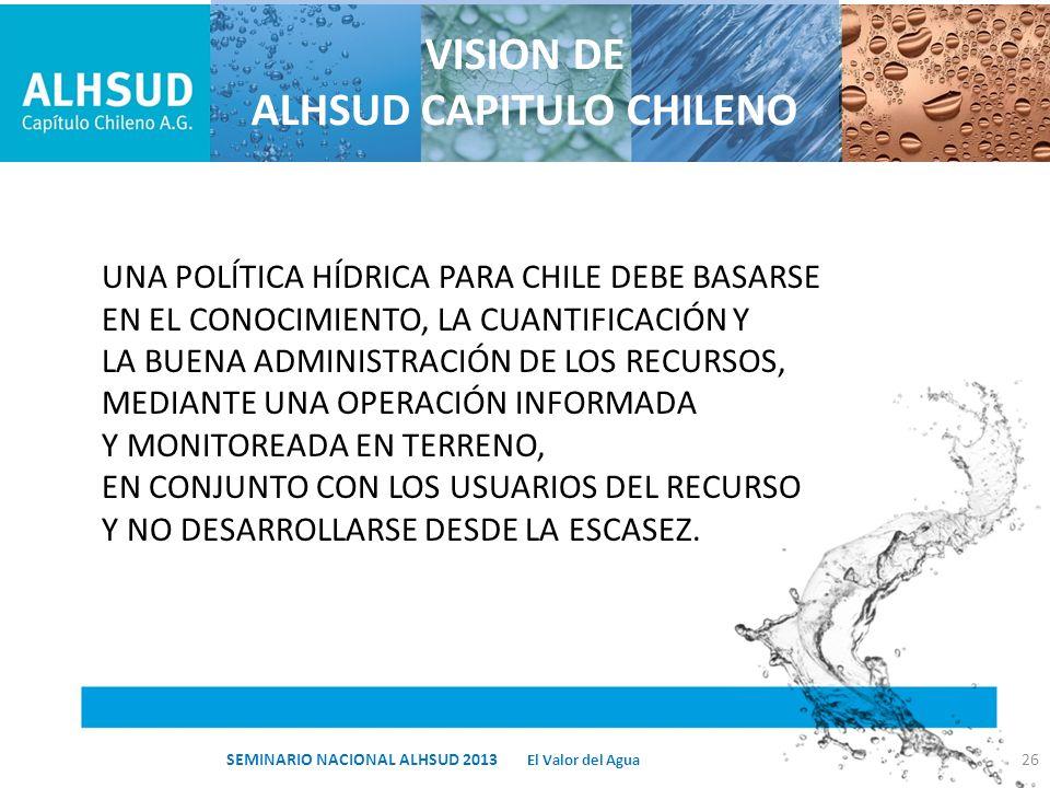 VISION DE ALHSUD CAPITULO CHILENO UNA POLÍTICA HÍDRICA PARA CHILE DEBE BASARSE EN EL CONOCIMIENTO, LA CUANTIFICACIÓN Y LA BUENA ADMINISTRACIÓN DE LOS