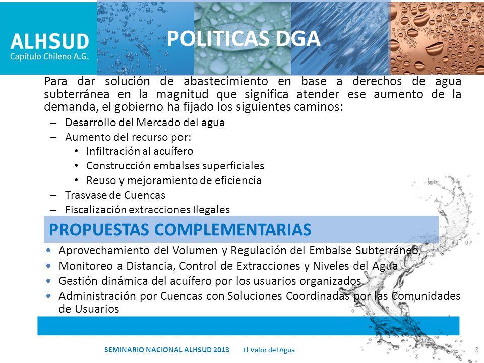 PROPUESTAS COMPLEMENTARIAS Para dar solución de abastecimiento en base a derechos de agua subterránea en la magnitud que significa atender ese aumento