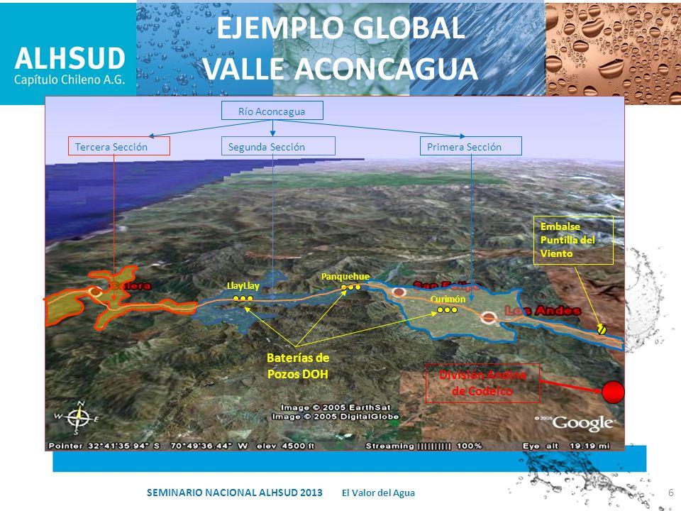 APROVECHAMIENTO EMBALSE SUBTERRANEO 7 San Felipe Los AndesPozos Curimón El Valor del Agua SEMINARIO NACIONAL ALHSUD 2013