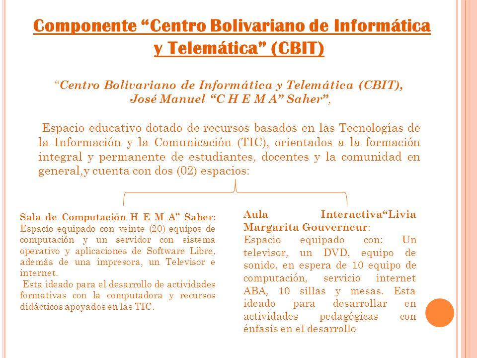 Componente Centro Bolivariano de Informática y Telemática (CBIT) Centro Bolivariano de Informática y Telemática (CBIT), José Manuel C H E M A Saher, Espacio educativo dotado de recursos basados en las Tecnologías de la Información y la Comunicación (TIC), orientados a la formación integral y permanente de estudiantes, docentes y la comunidad en general,y cuenta con dos (02) espacios: Sala de Computación H E M A Saher : Espacio equipado con veinte (20) equipos de computación y un servidor con sistema operativo y aplicaciones de Software Libre, además de una impresora, un Televisor e internet.