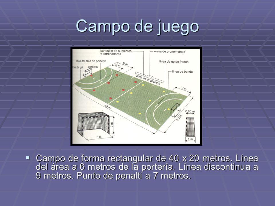 Campo de juego Campo de forma rectangular de 40 x 20 metros. Línea del área a 6 metros de la portería. Línea discontinua a 9 metros. Punto de penalti