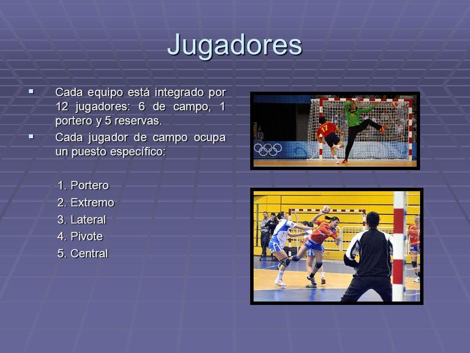 Jugadores Cada equipo está integrado por 12 jugadores: 6 de campo, 1 portero y 5 reservas.