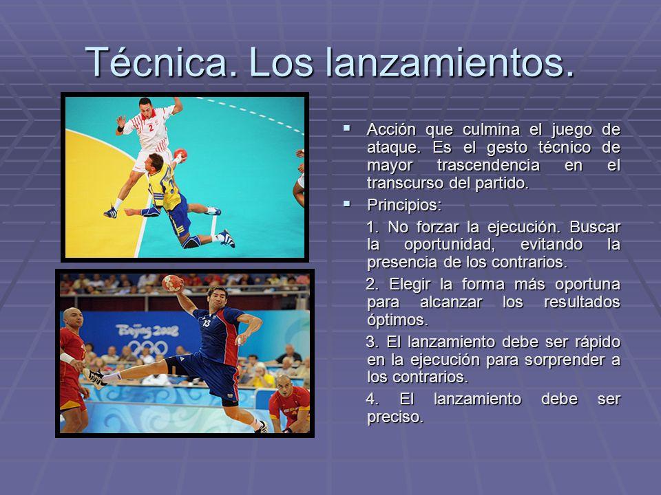 Técnica. Los lanzamientos. Acción que culmina el juego de ataque. Es el gesto técnico de mayor trascendencia en el transcurso del partido. Acción que