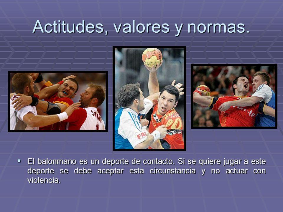 Actitudes, valores y normas. El balonmano es un deporte de contacto. Si se quiere jugar a este deporte se debe aceptar esta circunstancia y no actuar