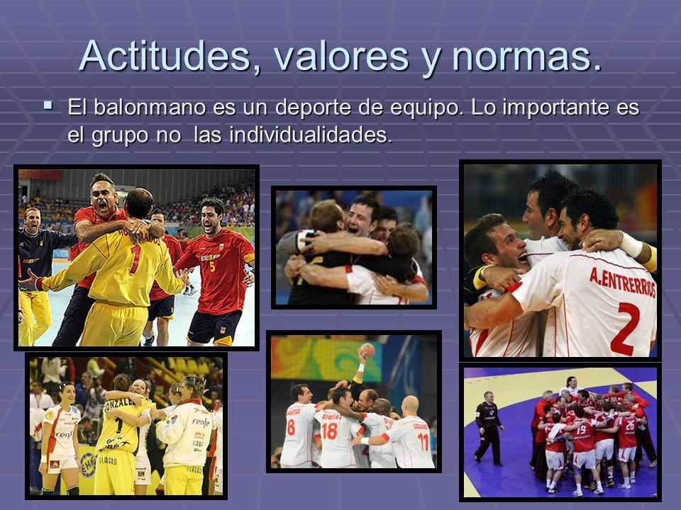 Actitudes, valores y normas.El balonmano es un deporte de equipo.