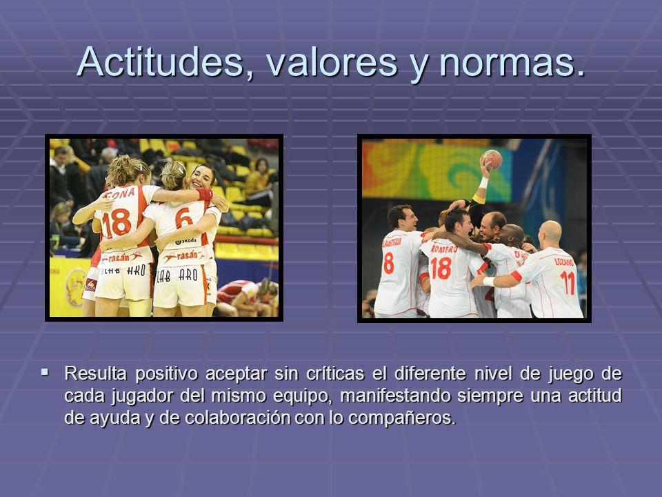 Actitudes, valores y normas. Resulta positivo aceptar sin críticas el diferente nivel de juego de cada jugador del mismo equipo, manifestando siempre