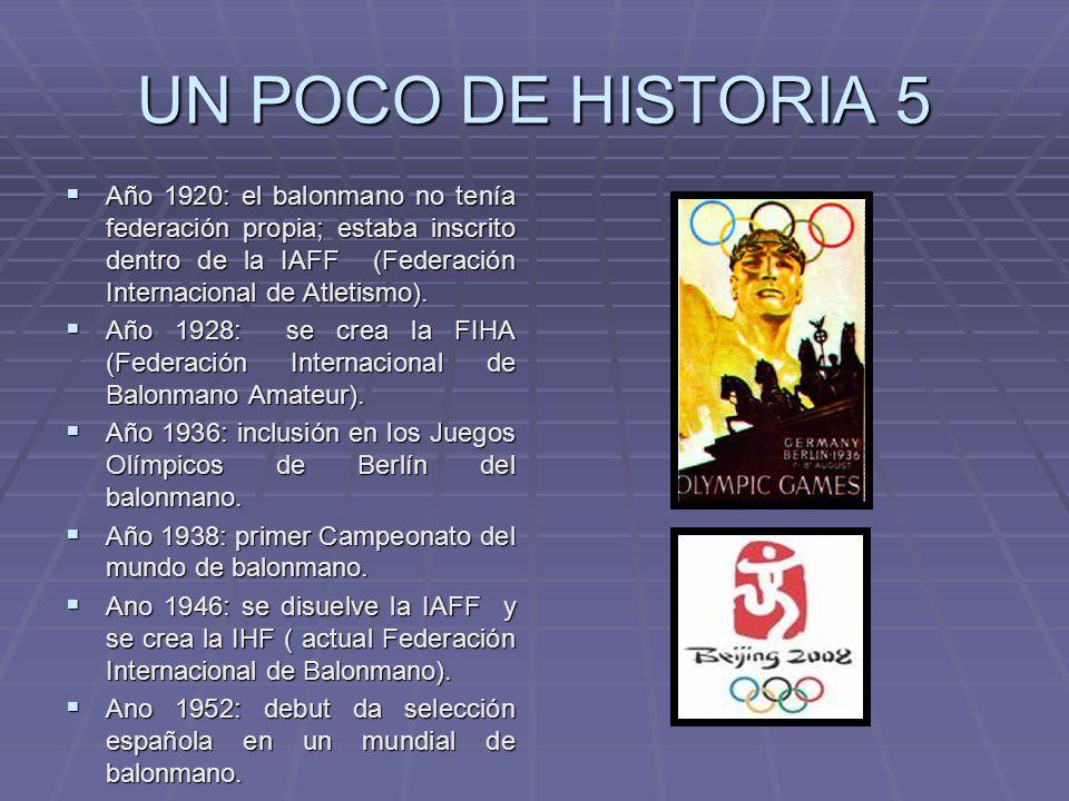 UN POCO DE HISTORIA 5 Año 1920: el balonmano no tenía federación propia; estaba inscrito dentro de la IAFF (Federación Internacional de Atletismo). Añ