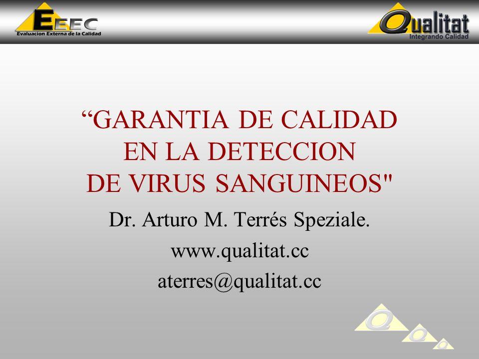 GARANTIA DE CALIDAD EN LA DETECCION DE VIRUS SANGUINEOS Dr.