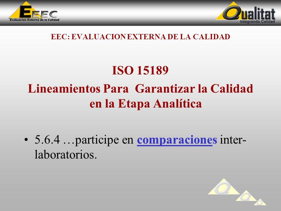 EEC: EVALUACION EXTERNA DE LA CALIDAD ISO 15189 Lineamientos Para Garantizar la Calidad en la Etapa Analítica comparaciones5.6.4 …participe en comparaciones inter- laboratorios.