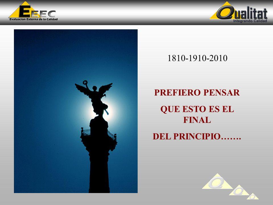 PREFIERO PENSAR QUE ESTO ES EL FINAL DEL PRINCIPIO……. 1810-1910-2010