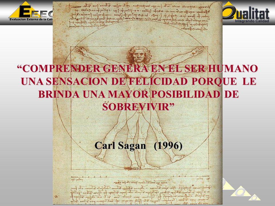 COMPRENDER GENERA EN EL SER HUMANO UNA SENSACION DE FELICIDAD PORQUE LE BRINDA UNA MAYOR POSIBILIDAD DE SOBREVIVIR Carl Sagan (1996)