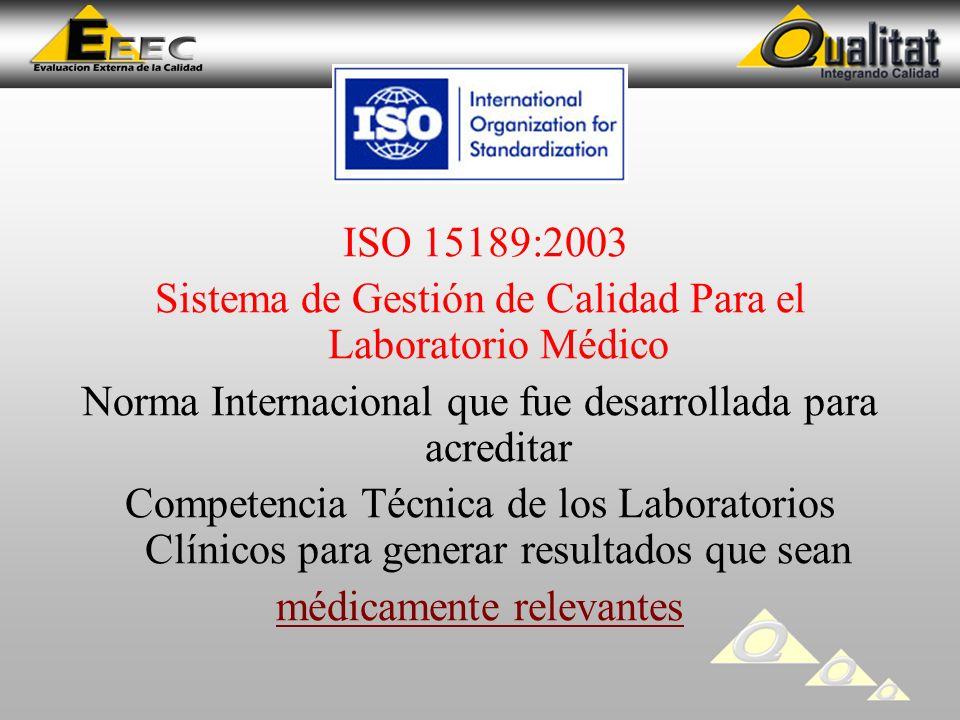 ISO 15189:2003 Sistema de Gestión de Calidad Para el Laboratorio Médico Norma Internacional que fue desarrollada para acreditar Competencia Técnica de los Laboratorios Clínicos para generar resultados que sean médicamente relevantes