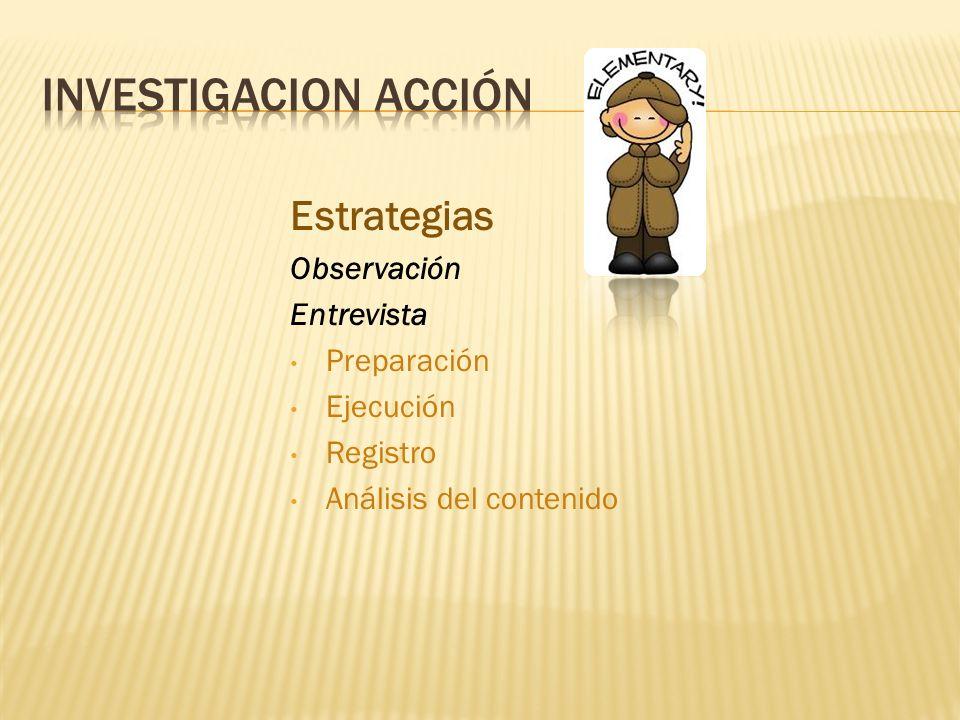 Estrategias Observación Entrevista Preparación Ejecución Registro Análisis del contenido