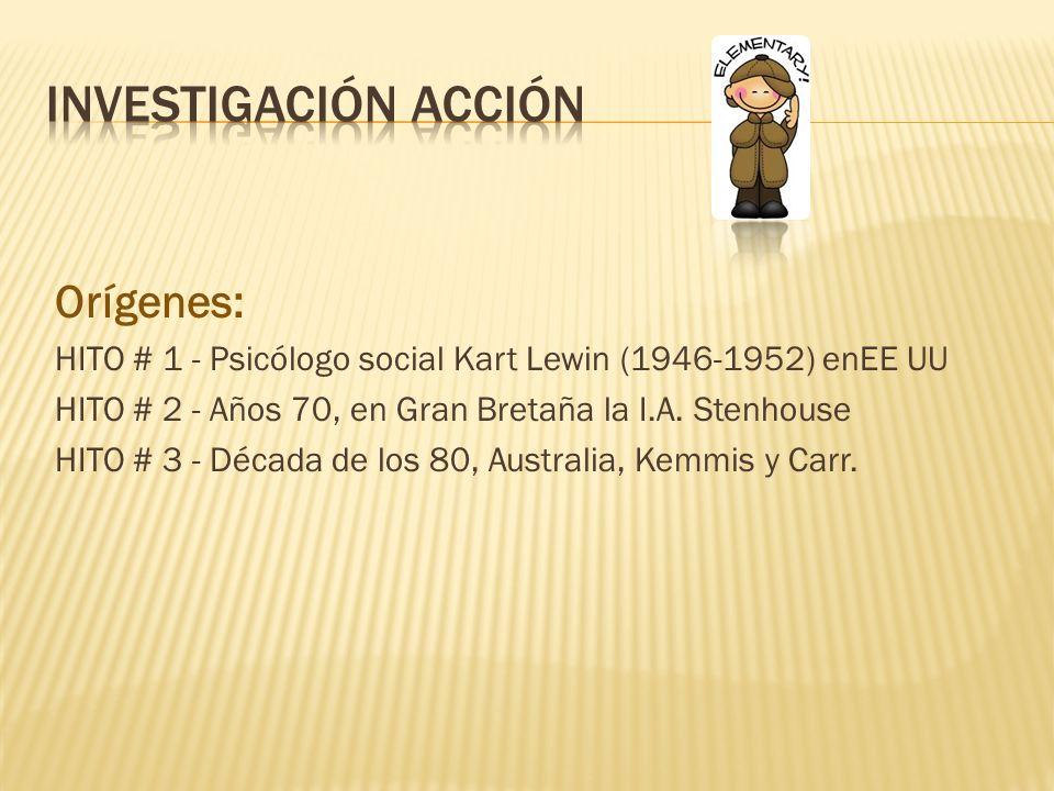 Orígenes: HITO # 1 - Psicólogo social Kart Lewin (1946-1952) enEE UU HITO # 2 - Años 70, en Gran Bretaña la I.A. Stenhouse HITO # 3 - Década de los 80