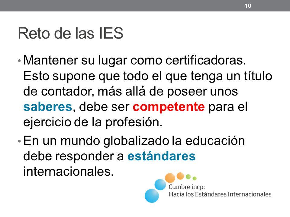 Reto de las IES Mantener su lugar como certificadoras.