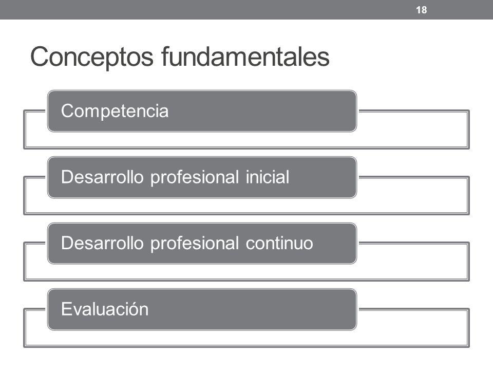 Conceptos fundamentales CompetenciaDesarrollo profesional inicialDesarrollo profesional continuoEvaluación 18
