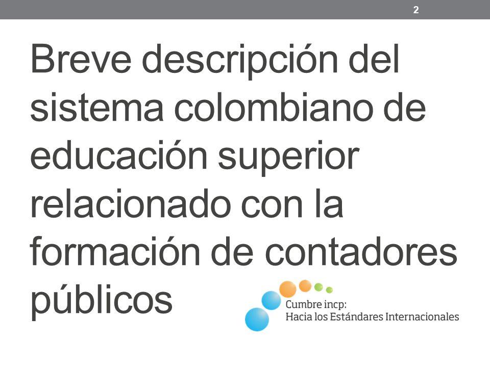 Breve descripción del sistema colombiano de educación superior relacionado con la formación de contadores públicos 2