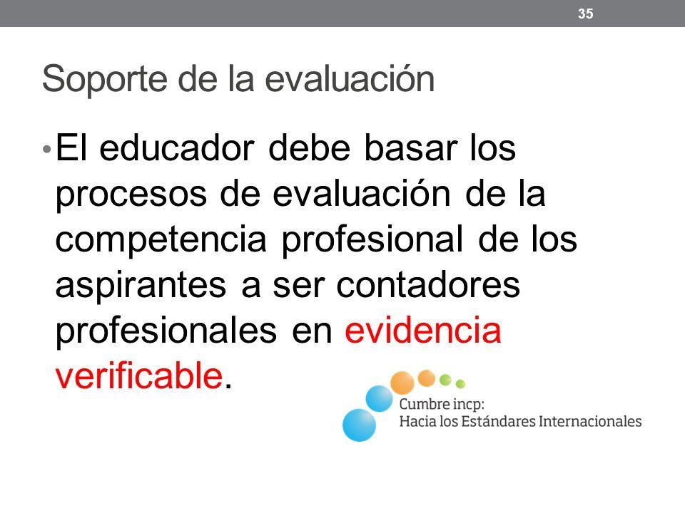 Soporte de la evaluación El educador debe basar los procesos de evaluación de la competencia profesional de los aspirantes a ser contadores profesionales en evidencia verificable.