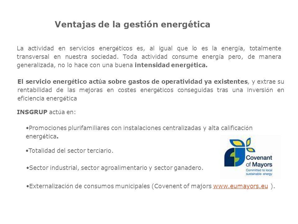 Ventajas de la gestión energética La actividad en servicios energ é ticos es, al igual que lo es la energ í a, totalmente transversal en nuestra sociedad.