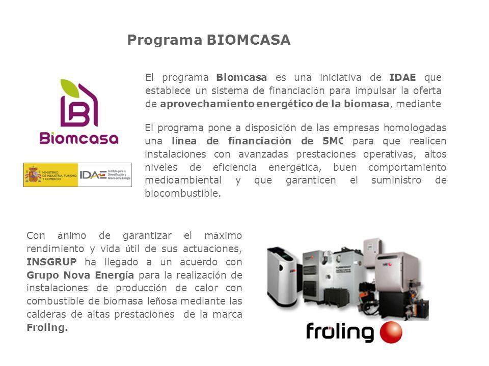 Líneas del Programa BIOMCASA El programa Biomcasa act ú a en tres l í neas de trabajo paralelas: Control de calidad de las empresas homologadas mediante un proceso inicial de habilitaci ó n de la empresa y posterior validaci ó n de sus instalaciones y explotaciones.