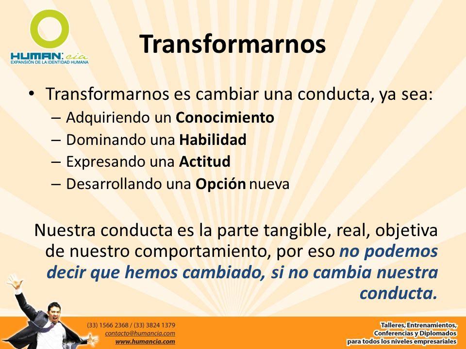 Transformarnos Transformarnos es cambiar una conducta, ya sea: – Adquiriendo un Conocimiento – Dominando una Habilidad – Expresando una Actitud – Desa