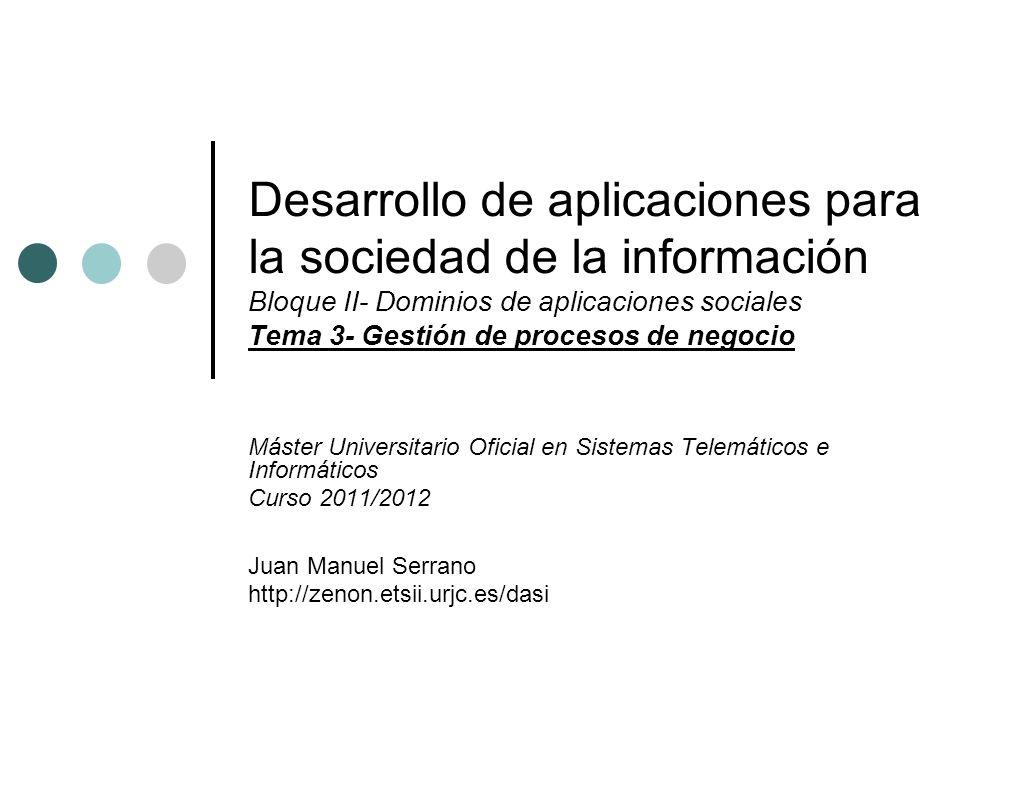Desarrollo de aplicaciones para la sociedad de la información Bloque II- Dominios de aplicaciones sociales Tema 3- Gestión de procesos de negocio Mást