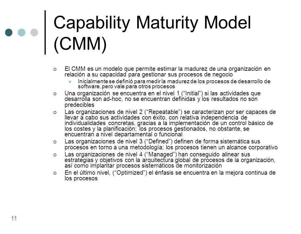 Capability Maturity Model (CMM) El CMM es un modelo que permite estimar la madurez de una organización en relación a su capacidad para gestionar sus p