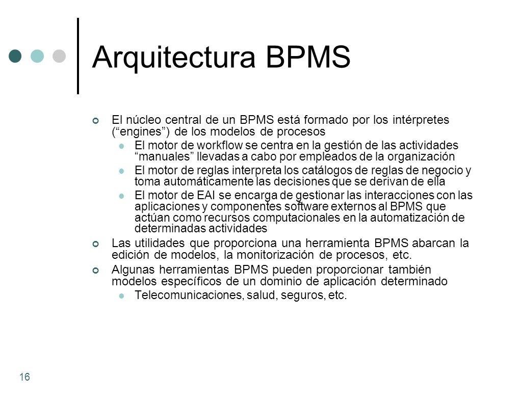 Arquitectura BPMS El núcleo central de un BPMS está formado por los intérpretes (engines) de los modelos de procesos El motor de workflow se centra en
