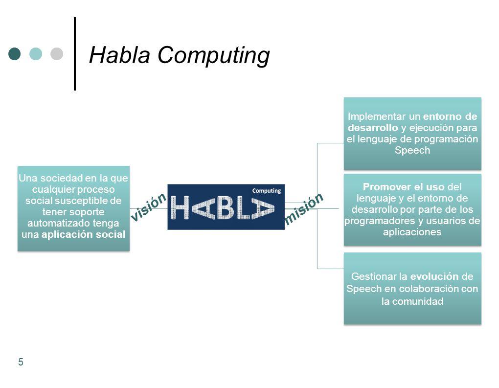 Habla Computing 5 Promover el uso del lenguaje y el entorno de desarrollo por parte de los programadores y usuarios de aplicaciones Gestionar la evolu