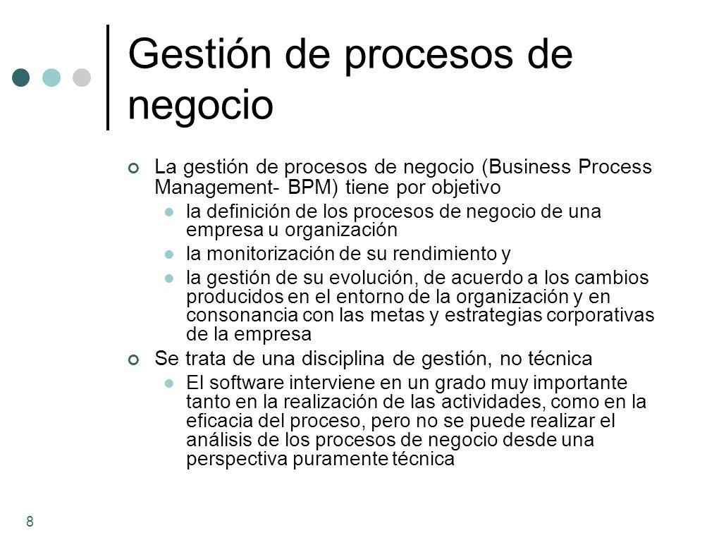 Gestión de procesos de negocio La gestión de procesos de negocio (Business Process Management- BPM) tiene por objetivo la definición de los procesos d
